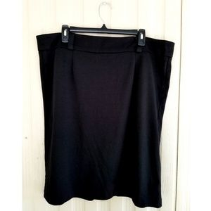 Black Pencil Skirt Soft Cotton Stretchy Work Knee